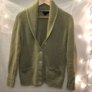 Soft, light-green, thick, cozy knit cardigan